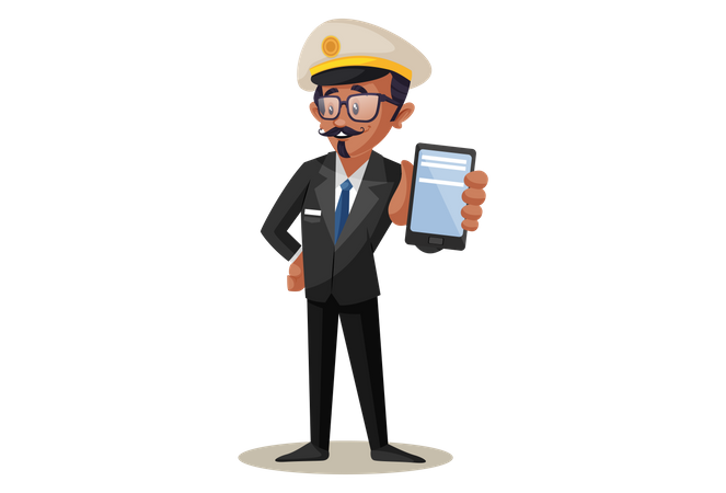 Indian Train Conductor Showing Smartphone For Online Booking Illustration