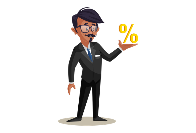 Indian Train Conductor with Percentage sign Illustration