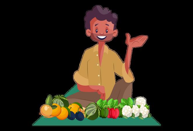 Indian Vegetable seller Illustration