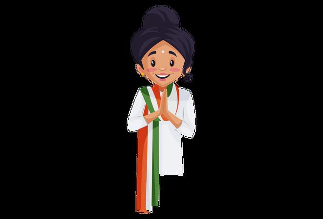 Indian woman doing Namaste Illustration