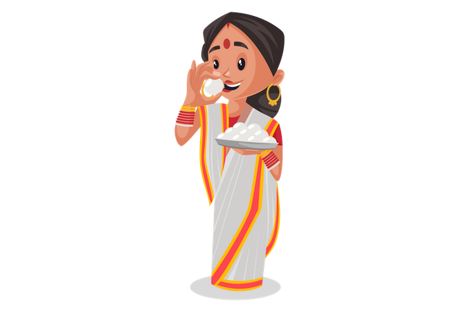 Indian woman holding indian sweet in plate and eating it Illustration
