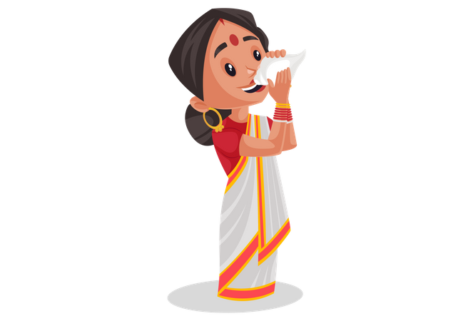 Indian woman is blowing conch shell Illustration