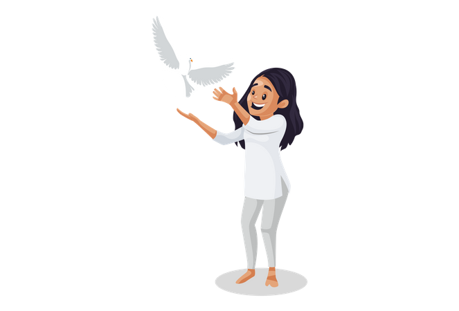 Indian woman is flying pigeon Illustration