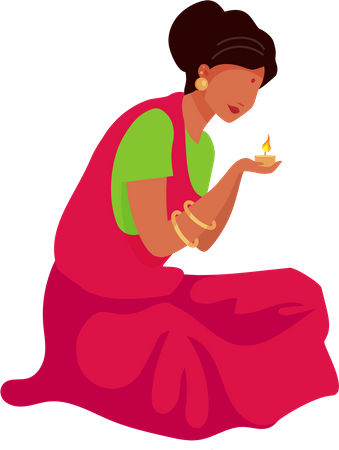 Indian woman lighting candle Illustration