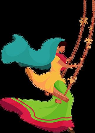 Indian woman on swing Illustration