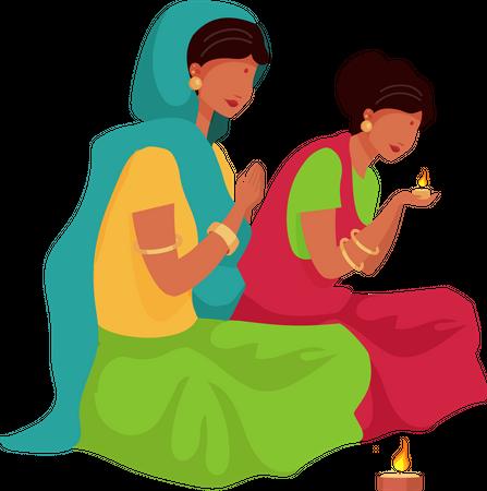 Indian woman praying Illustration