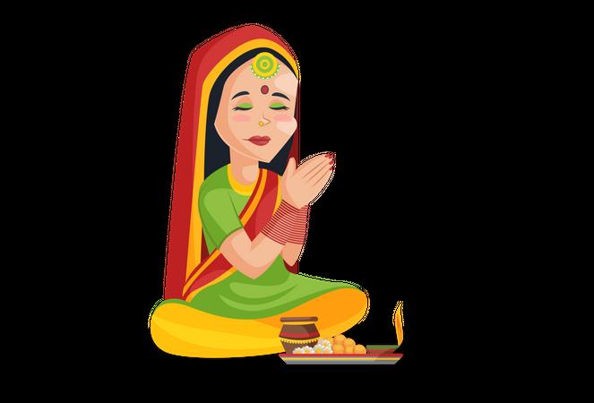 Indian woman praying to god Illustration