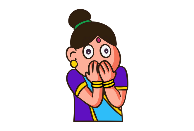 Indian woman shocking face expression Illustration