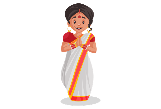Indian woman standing in welcoming pose Illustration