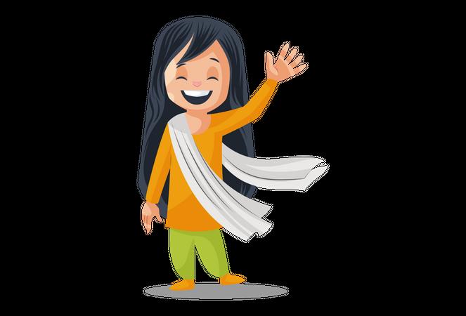 Indian Woman wearing Indian dress saying hello Illustration
