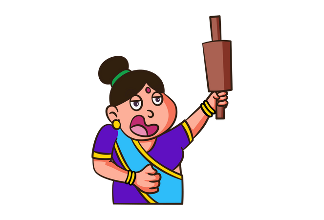 Indian woman with rolling pin Illustration