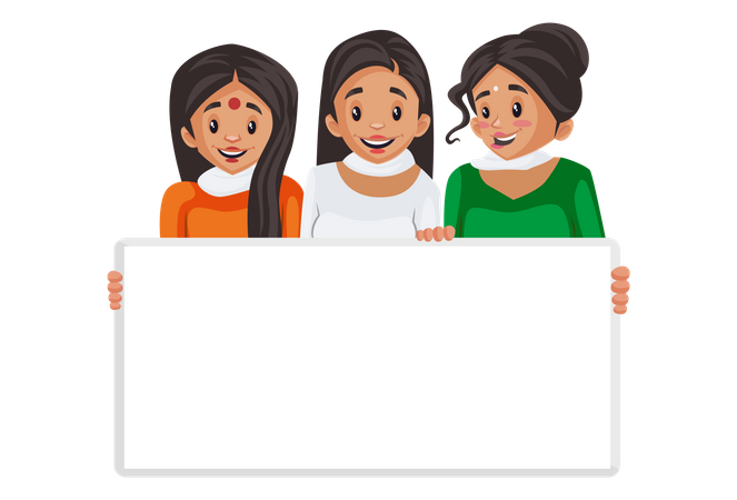 Indian women are holding an empty board in hand Illustration