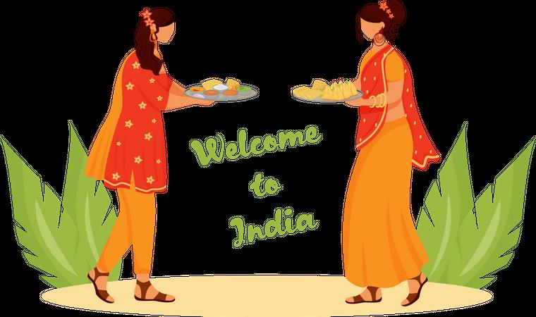 Indian women wearing sari Illustration