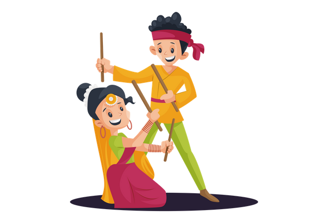 Indian Young Couple Playing or Dancing Garba Illustration