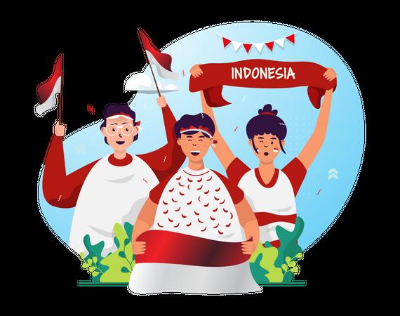 Indonesian independence day celebration Illustration