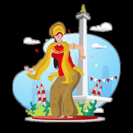 Indonesian traditional dancer Illustration