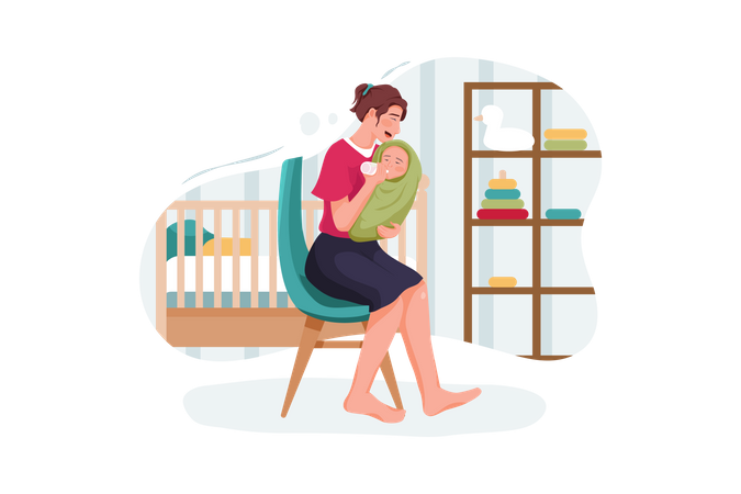 Infant boy drinking milk from plastic bottle feeding by mother Illustration
