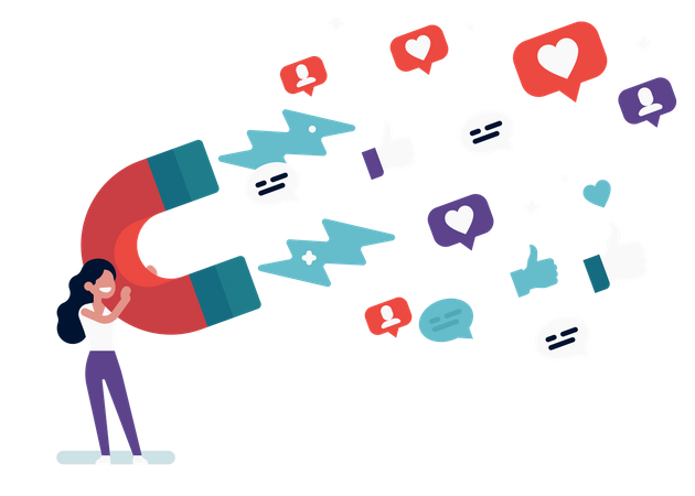 Influencer woman holding giant magnet attracting likes, followers and comments Illustration