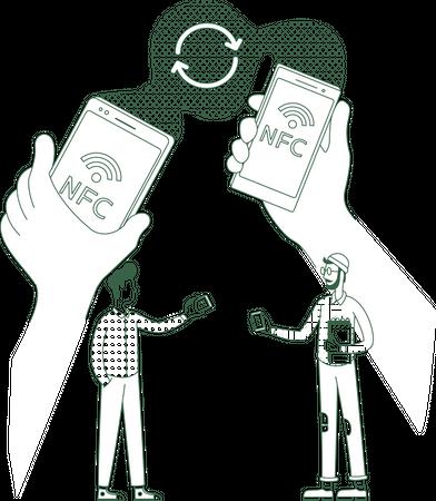 Info exchange using NFC Illustration