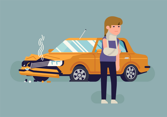 Injured in a car accident woman standing in front of her wrecked car Illustration