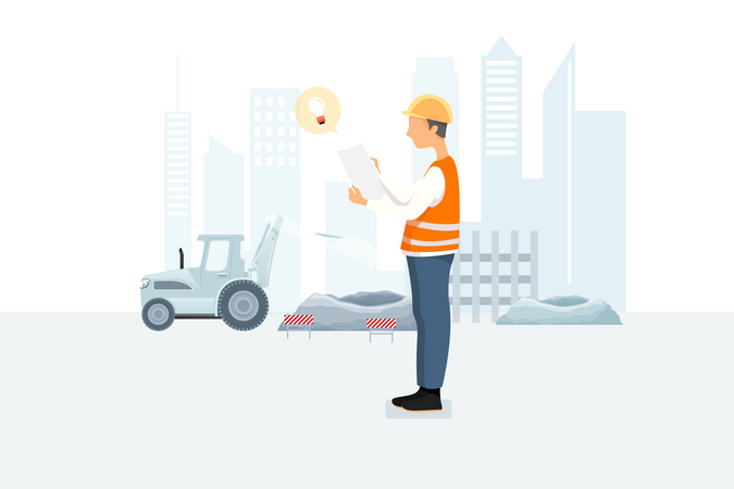 Innovative contractor studying building plan Illustration
