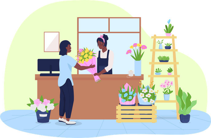 Inside florist store Illustration
