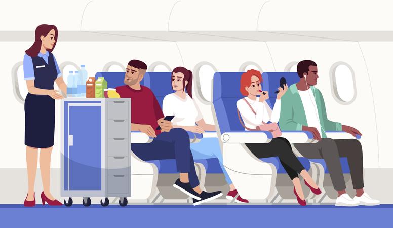Inside of an aeroplane Illustration