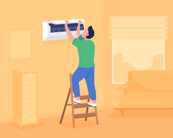 Installing air conditioning in wall Illustration