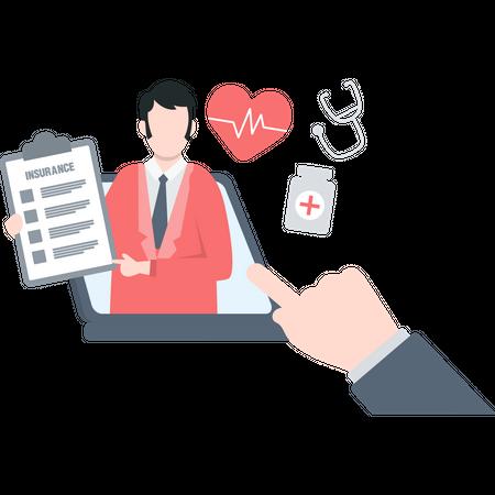 Insurance agent describing health insurance plan Illustration
