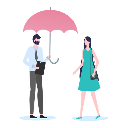 Insurance agent selling insurance policy Illustration
