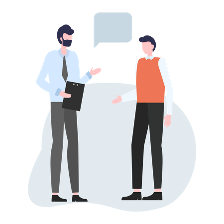 Insurance agent talking to his client Illustration