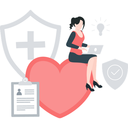 Insurance agent working on laptop Illustration