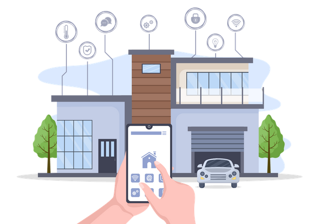 Interact with house with smart equipment Illustration