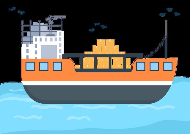 International Cargo Shipping Illustration