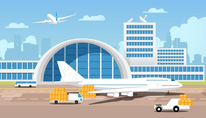 International Express Delivery of Cargo, Transportation Shipping Illustration