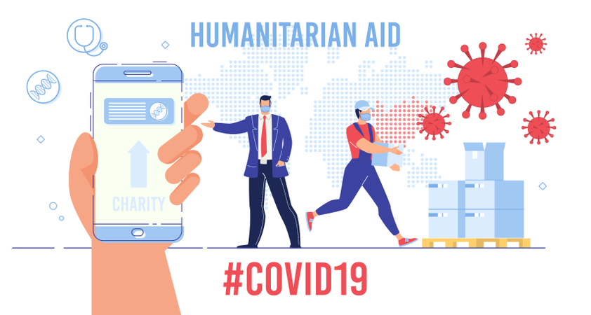International Humanitarian Help and Assistance, Charity Funds Collection for Affected by Coronavirus Countries Illustration