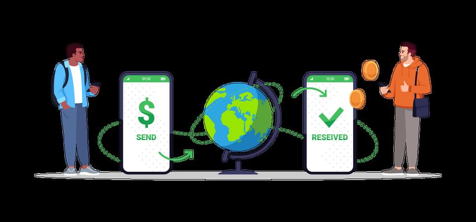 International money transfer through mobile app Illustration