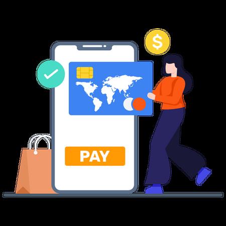 International Shopping Payment Illustration