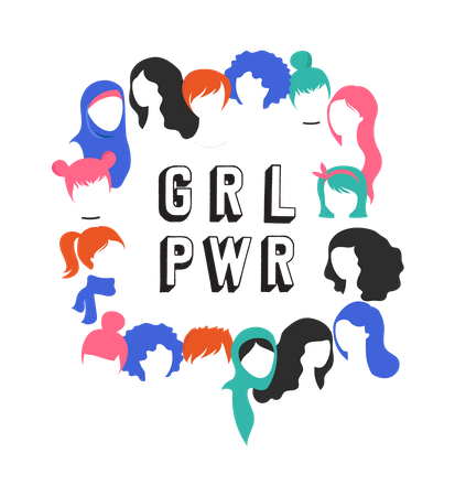 International Women's Day - girl power Illustration