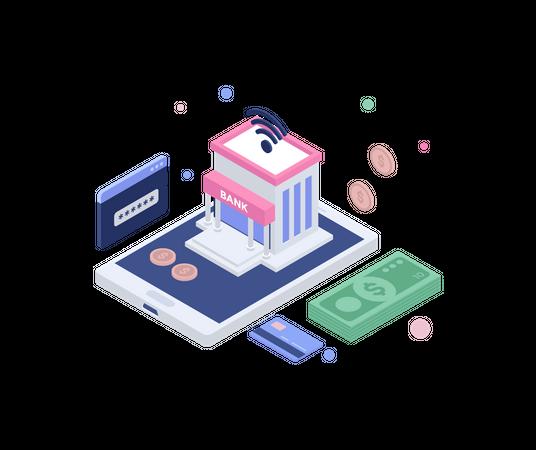 Internet banking Illustration