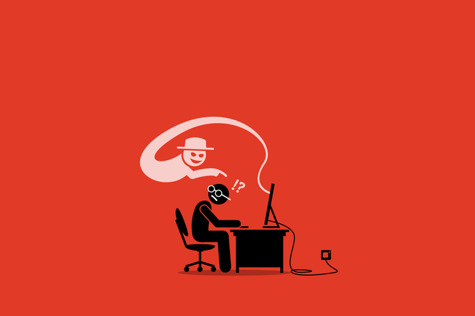 Internet Cyber Scammer Trying to Cheat an Internet User Illustration