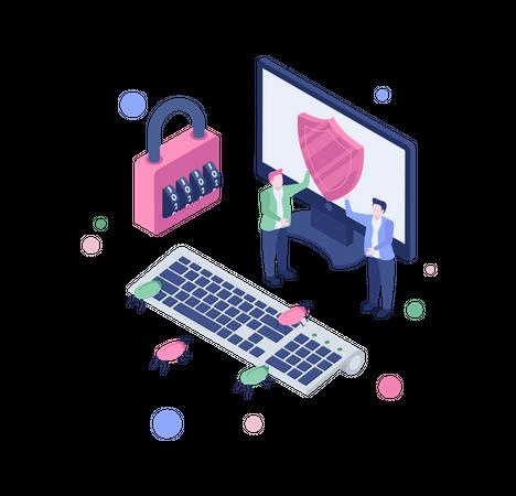 Internet data security Illustration