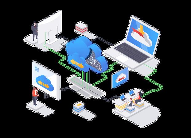 Internet hosting provider, data storage service Illustration