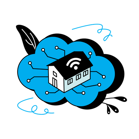 Internet of things home cloud Illustration