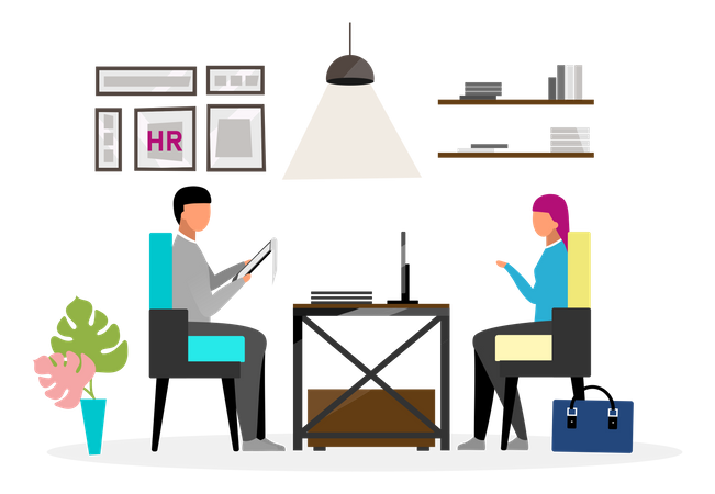 Interview at HR office Illustration