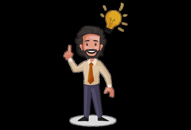 Investment Advisor thinking innovative idea Illustration