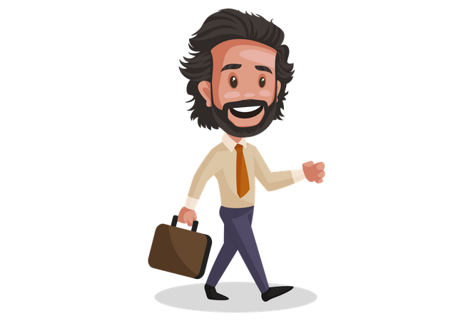 Investment Advisor walking with briefcase in hand Illustration