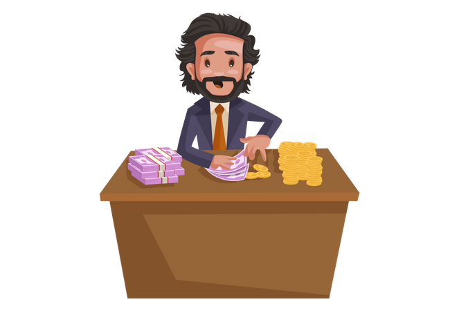 Investment consultant sitting at desk with indian rupees and gold coins Illustration