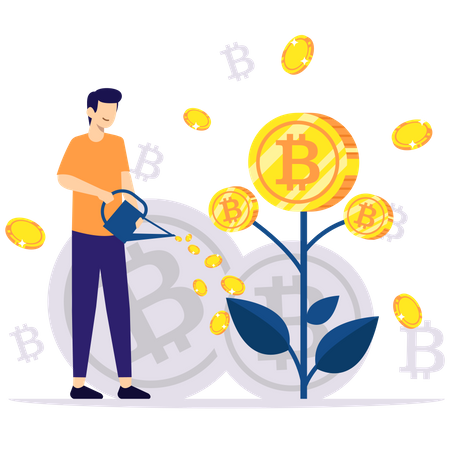 Investment in Bitcoin Illustration