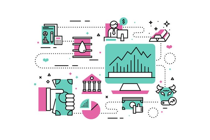 Investment line icons illustration Illustration